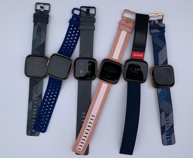 A selection of the Fitbit Versa 2's optional bands. (Image: Howley)
