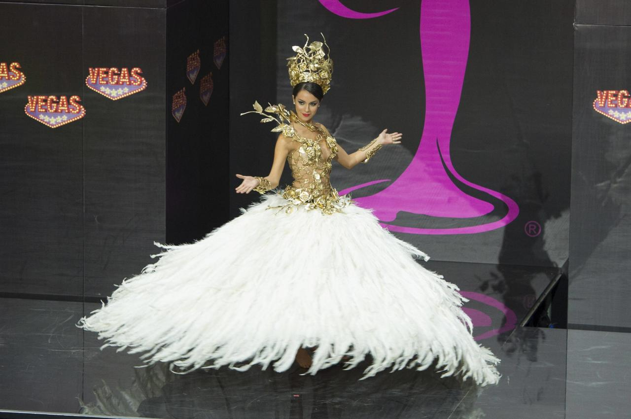 Brenda Gonzalez, Miss Argentina 2013, models in the national costume contest during the Miss Universe 2013 pageant at Vegas Mall in Moscow