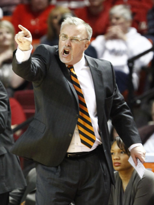Oklahoma State head coach Jim Littell yells to his team as they play against Oklahoma in the second half of an NCAA college basketball game in Norman, Okla., Saturday, Feb. 1, 2014. Oklahoma won 81-74. (AP Photo/Alonzo Adams)
