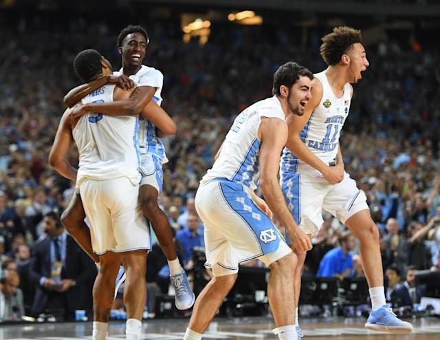 <p>North Carolina Tar Heels players celebrate after defeating the Gonzaga Bulldogs in the championship game of the 2017 NCAA Men's Final Four at University of Phoenix Stadium. Mandatory Credit: Bob Donnan-USA TODAY Sports </p>