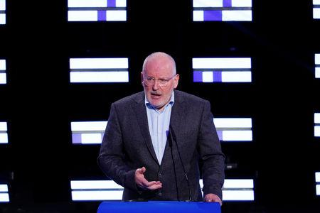European Commission vice-president Frans Timmermans, candidate of the Party of European Socialists (PES), speaks at the Plenary Hall during the election night for European elections at the European Parliament in Brussels, Belgium, May 27, 2019. REUTERS/Francois Lenoir