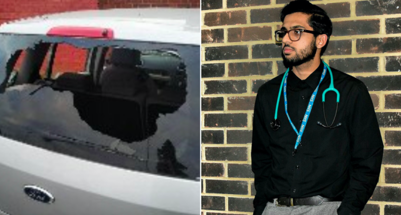 Dr Abdul Farooq discovered his car has been smashed up as he was about to go to work. (Justgiving)
