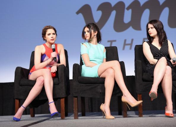 Actresses Ashley Benson, Selena Gomez and Rachel Korine speak onstage at Break It Down: Harmony Korine & His Spring Breakers during the 2013 SXSW Music, Film + Interactive Festival at Austin Convention Center on March 11, 2013 in Austin, Texas.