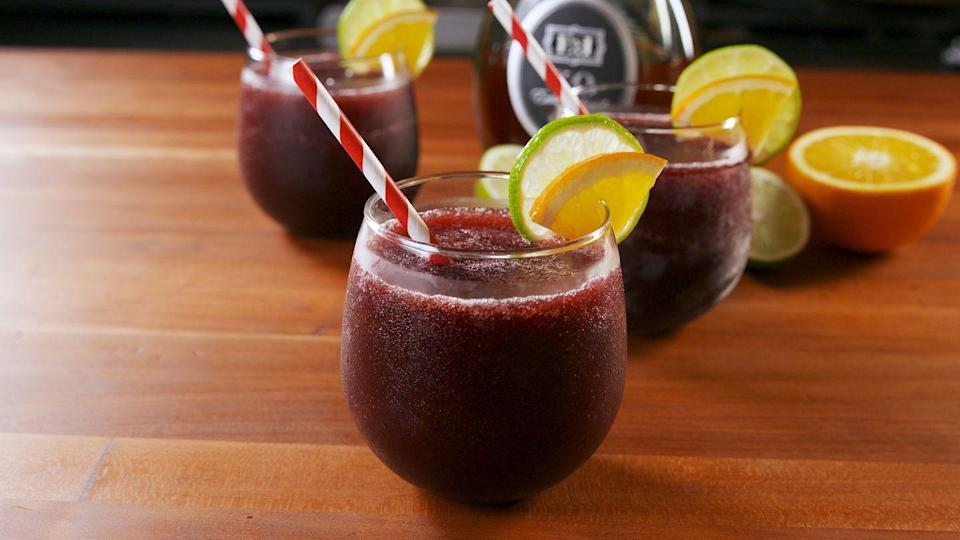 """<p>Swap in white wine or rosé, if you prefer!</p><p>Get the recipe from <a href=""""https://www.delish.com/cooking/recipe-ideas/a21648372/sangria-slushies-recipe/"""" rel=""""nofollow noopener"""" target=""""_blank"""" data-ylk=""""slk:Delish."""" class=""""link rapid-noclick-resp"""">Delish.</a></p>"""