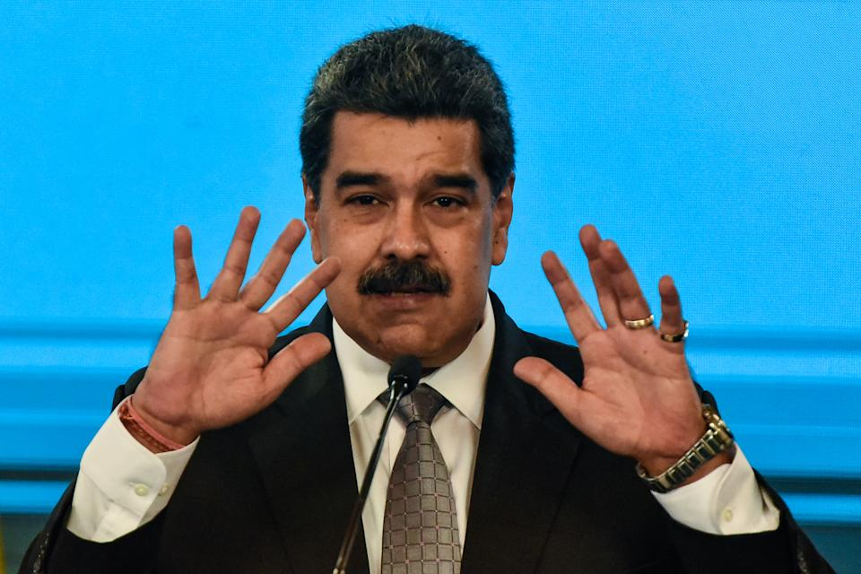 CARACAS, VENEZUELA - FEBRUARY 17: Nicolas Maduro President of Venezuela gestures as he speaks in a press conference at Miraflores Palace on February 17, 2021 in Caracas, Venezuela. Nicolas Maduro President of Venezuela announced the country will start vaccinating health workers from Thursday with the Covid-19 Vaccine Sputnik V. (Photo by Carolina Cabral/Getty Images)