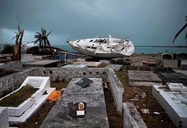 This sailing boat ended up beached in the cemetery of Marigot near the Bay of Nettle on Sept. 9. Six months later, the wall remains broken.