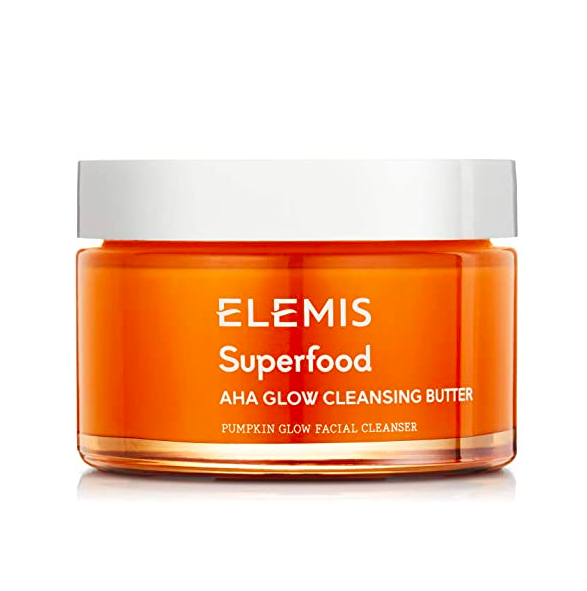"""<h2>ELEMIS Superfood AHA Glow Cleansing Butter </h2>Glowing skin starts at <em>clean </em>skin, and this nourishing cleansing butter features brightening AHAs to boost radiance as it melts away makeup.<br><br><strong>Elemis</strong> Superfood AHA Glow Cleansing Butter, 3 fl. oz., $, available at <a href=""""https://amzn.to/3hi36vS"""" rel=""""nofollow noopener"""" target=""""_blank"""" data-ylk=""""slk:Amazon"""" class=""""link rapid-noclick-resp"""">Amazon</a>"""
