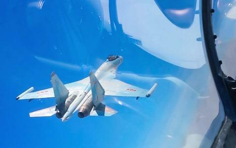 <span>The exercises tested China's latest military hardware, such as its H-6K bombers and Su-30 and Su-35 fighters</span> <span>Credit: Barcroft/Xinhua </span>