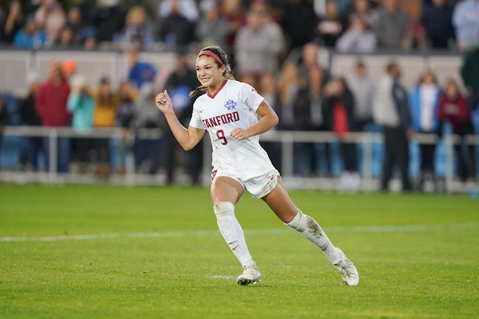 Stanford's Sophia Smith is reportedly a target for the Portland Thorns with the No. 1 pick in the NWSL draft. (Photo by John Todd/ISI Photos/Getty Images).