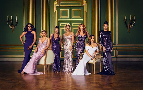 "The Real Housewives of Potomac Season 5 - Pictured: (l-r) Wendy Osefo, Robyn Dixon, Candiace Dillard, Karen Huger, Gizelle Bryant, Ashley Darby, Monique Samuels<span class=""copyright"">Sophy Holland—Bravo/NBCU Photo Bank/Getty Images</span>"