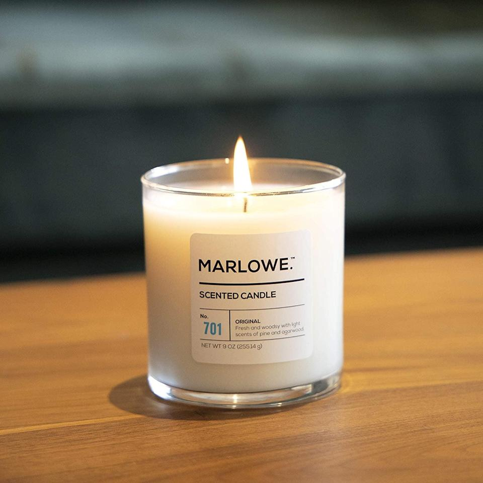 <p>The <span>Marlowe Premium Scented Soy Candle</span> ($20) is a luxurious candle that will fill your home with a woodsy, pine and agarwood scent. It has a 65-hour burn time.</p>