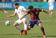 Canada midfielder Samuel Piette (6) is pressured U.S. midfielder Sebastian Lletget (17) during the second half of a CONCACAF Gold Cup soccer match in Kansas City, Kan., Sunday, July 18, 2021. (AP Photo/Colin E. Braley)