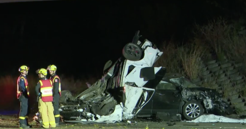 A 26-year-old passenger survived and was taken to hospital after the crash about 11.30pm Saturday. Source: Nine News