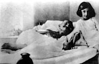 Mohatma Gandhi and Indira Gandhi in 1924. (Photo by: Photo12/Universal Images Group via Getty Images)