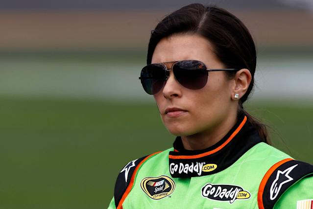 DAYTONA BEACH, FL - FEBRUARY 19: Danica Patrick, driver of the #10 GoDaddy.com Chevrolet, looks on during qualifying for the NASCAR Sprint Cup Series Daytona 500 at Daytona International Speedway on February 19, 2012 in Daytona Beach, Florida. (Photo by Todd Warshaw/Getty Images for NASCAR)