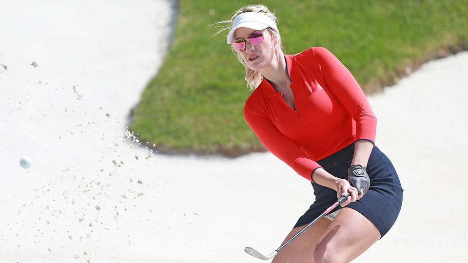 Paige Spiranac, pictured here in action at the PGA TOUR Champions Bass Pro Shops Legends of Golf in 2019.