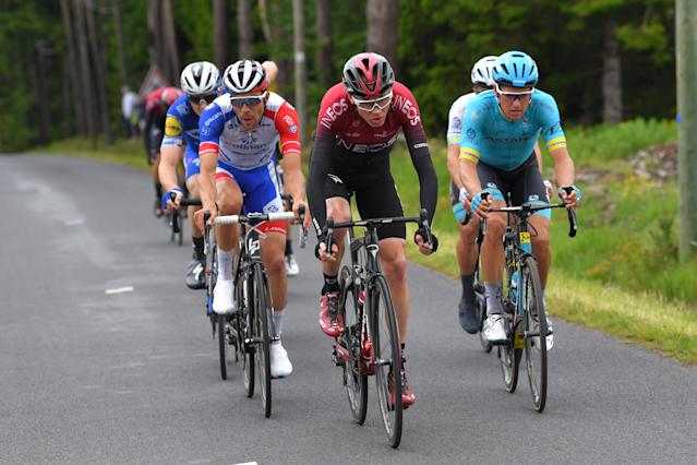 Petr Vakoc, Thibaut Pinot, Jakob Fuglsang and Chris Froome during the 71st Criterium du Dauphine 2019. (Photo by Tim de Waele/Getty Images)