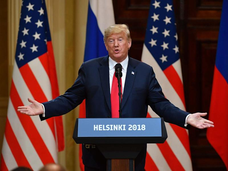 US president Donald Trump in 2018, speaks alongside Russian president Vladimir Putin: AFP via Getty Images