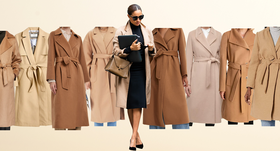 Meghan Markle wearing black dress, camel coat, and heels and collage of dupe camel coats