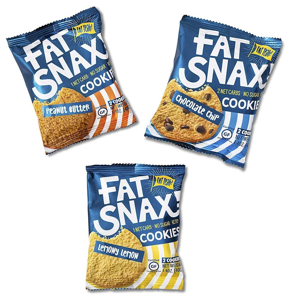 """<p>Looking for a cookie that fits in with your healthy lifestyle? You need these <a href=""""https://www.popsugar.com/buy/Fat-Snax-Low-Carb-Keto-Sugar-Free-Cookies-581095?p_name=Fat%20Snax%20Low-Carb%2C%20Keto%2C%20and%20Sugar-Free%20Cookies&retailer=amazon.com&pid=581095&price=35&evar1=fit%3Aus&evar9=45752863&evar98=https%3A%2F%2Fwww.popsugar.com%2Fphoto-gallery%2F45752863%2Fimage%2F45752888%2FLow-Cal-Cookies&list1=shopping%2Camazon%2Chealthy%20snacks%2Csnacks%2Clow%20calorie%2Clow-carb&prop13=api&pdata=1"""" class=""""link rapid-noclick-resp"""" rel=""""nofollow noopener"""" target=""""_blank"""" data-ylk=""""slk:Fat Snax Low-Carb, Keto, and Sugar-Free Cookies"""">Fat Snax Low-Carb, Keto, and Sugar-Free Cookies</a> ($35 for 12 packs). They come in four flavors, and you can do so much with them.</p>"""