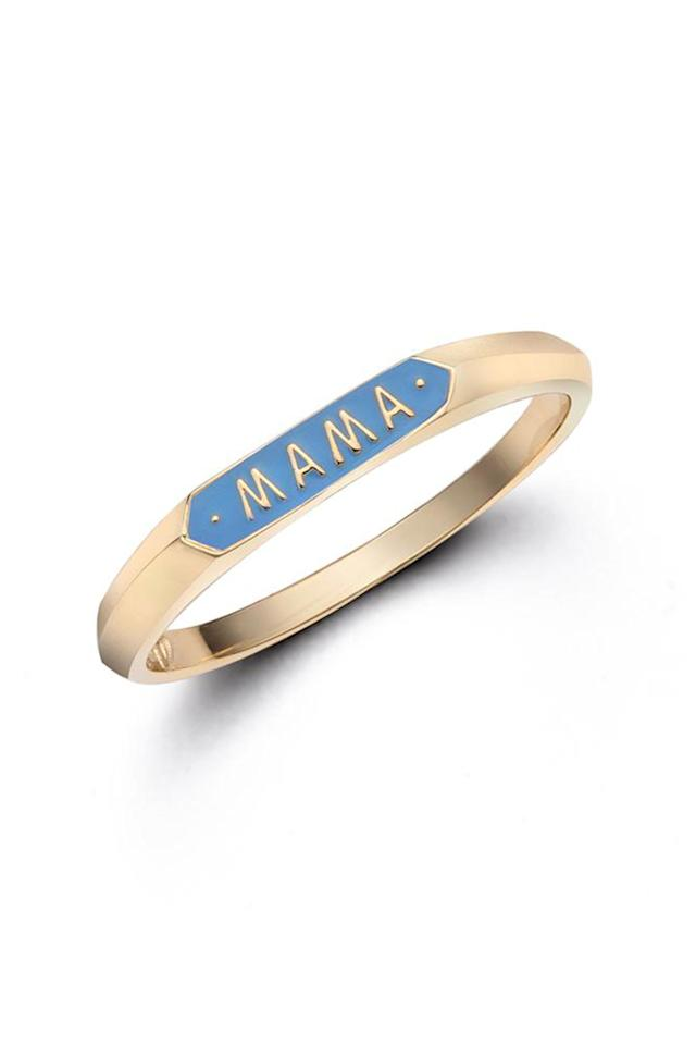 """<p><strong>Nora Kogan</strong></p><p>norakogan.com</p><p><strong>$310.00</strong></p><p><a href=""""https://norakogan.com/collections/signet-rings/products/mama-signet-ring"""" target=""""_blank"""">Shop Now</a></p><p>""""Mom"""" jewelry can get a little cheesy, but this enamel ring makes it playfully chic. </p>"""