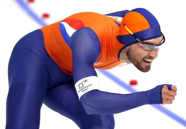 Speed Skating - Pyeongchang 2018 Winter Olympics - Men's 1000m competition finals - Gangneung Oval - Gangneung, South Korea - February 23, 2018 - Kjeld Nuis of the Netherlands competes. REUTERS/Phil Noble