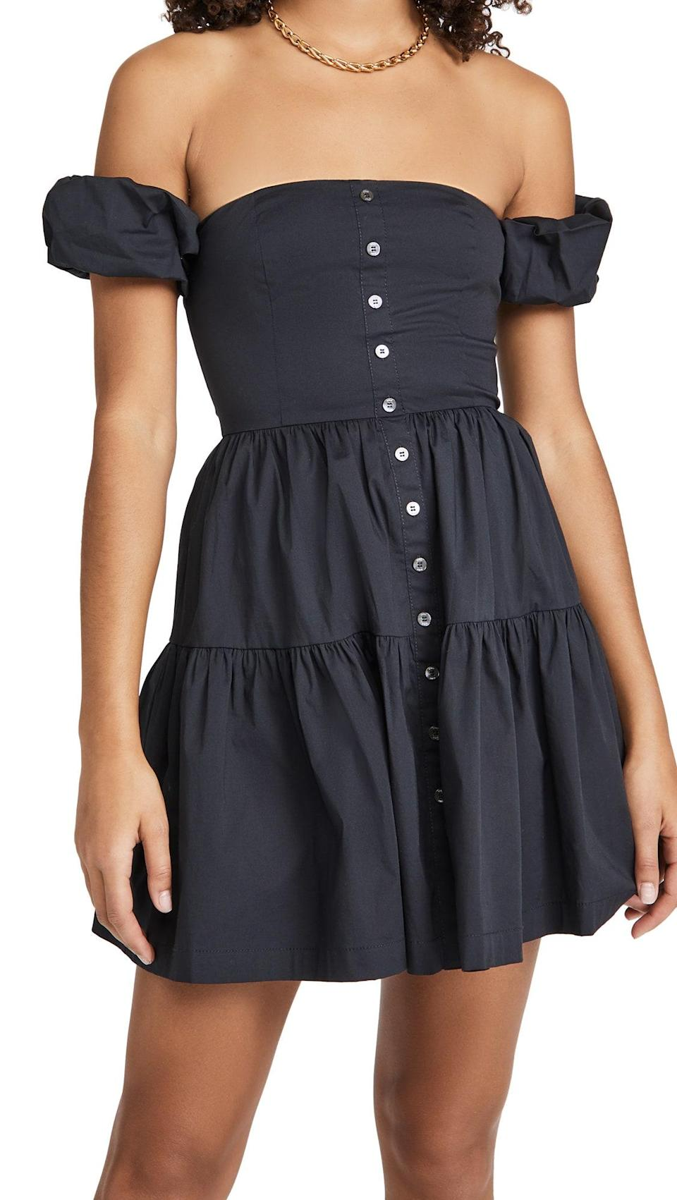 """Does it get any cuter than this tiered, button-front, off-the-shoulder dress from cult-favorite brand Staud? We think not. $245, Shopbop. <a href=""""https://www.shopbop.com/mini-elio-dress-staud/vp/v=1/1594149060.htm"""" rel=""""nofollow noopener"""" target=""""_blank"""" data-ylk=""""slk:Get it now!"""" class=""""link rapid-noclick-resp"""">Get it now!</a>"""