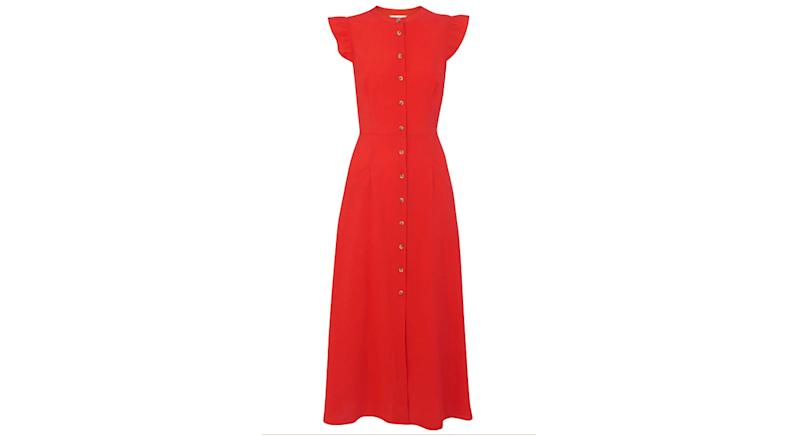 Frill Sleeve Button Dress