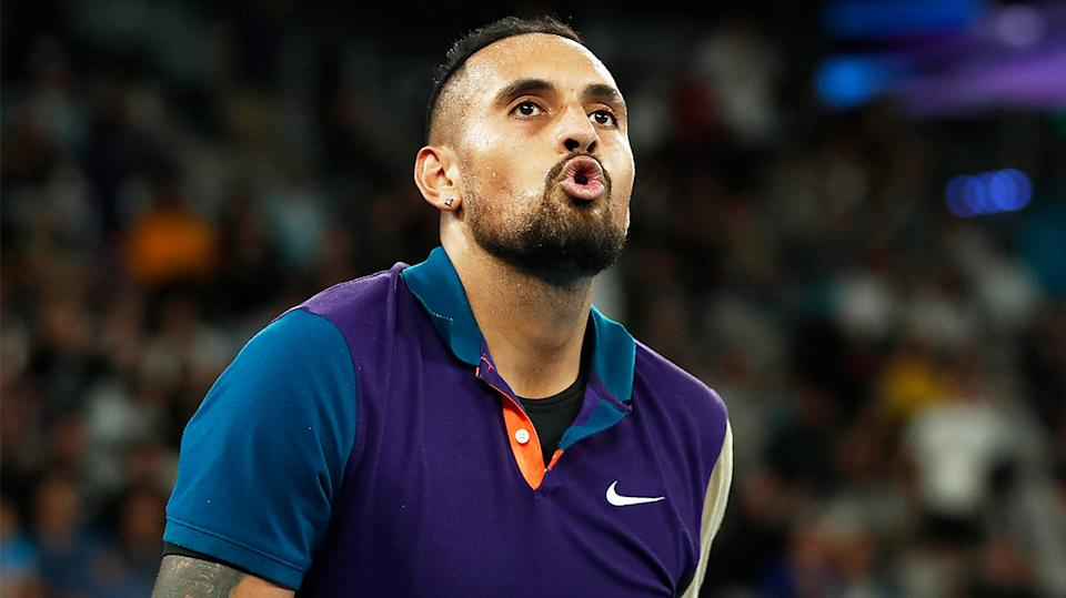 Nick Kyrgios (pictured) looking at his players box during the Australian Open.
