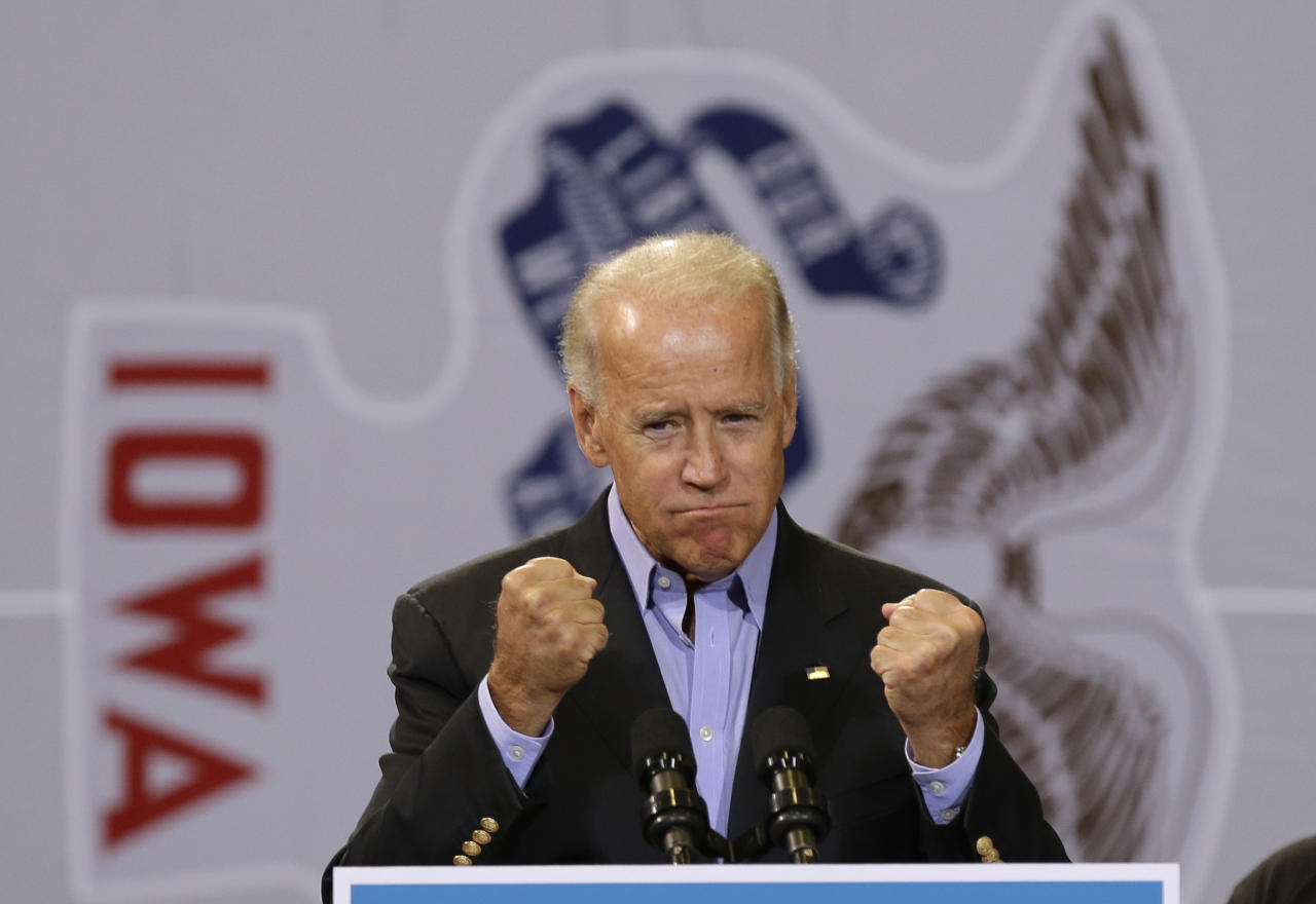 Vice President Joe Biden speaks during a campaign stop at the Bridge View Center, Tuesday, Sept. 18, 2012, in Ottumwa, Iowa. (AP Photo/Charlie Neibergall)