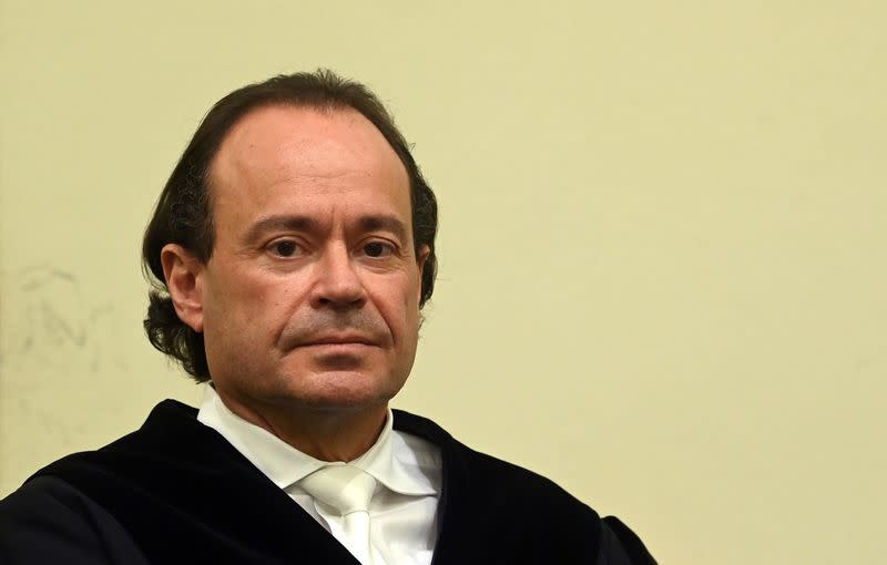Prosecutor Kai Graeber looks on ahead of the verdict in the trial of German sports doctor Mark S. (not pictured), accused of masterminding an international doping network in cycling and winter sports, at the Regional Court (Landgericht) in Munich