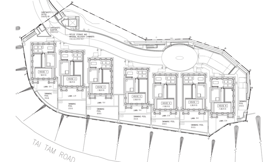 Plan of 45 Tai Tam Road, featuring House 3. Photo: Tania Development Limited