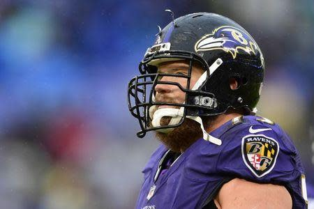 FILE PHOTO: Dec 16, 2018; Baltimore, MD, USA; Baltimore Ravens guard Marshal Yanda (73) looks to the scoreboard during the fourth quarter against the Tampa Bay Buccaneers at M&T Bank Stadium. Mandatory Credit: Tommy Gilligan-USA TODAY Sports