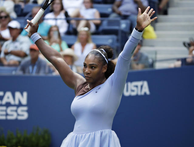 Serena Williams reacts during the fourth round of the U.S. Open tennis tournament against Kaia Kanepi, of Estonia, Sunday, Sept. 2, 2018, in New York. (AP Photo/Carolyn Kaster)