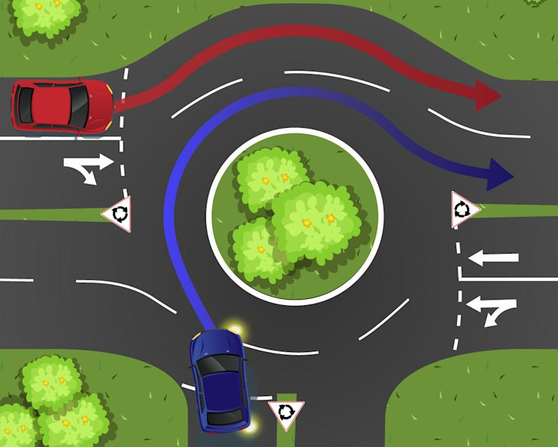 A blue car enters a two lane roundabout as a red car waits.