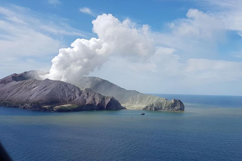 Pictured here, the volcano on New Zealand's White Island left several people dead after erupting on Monday.