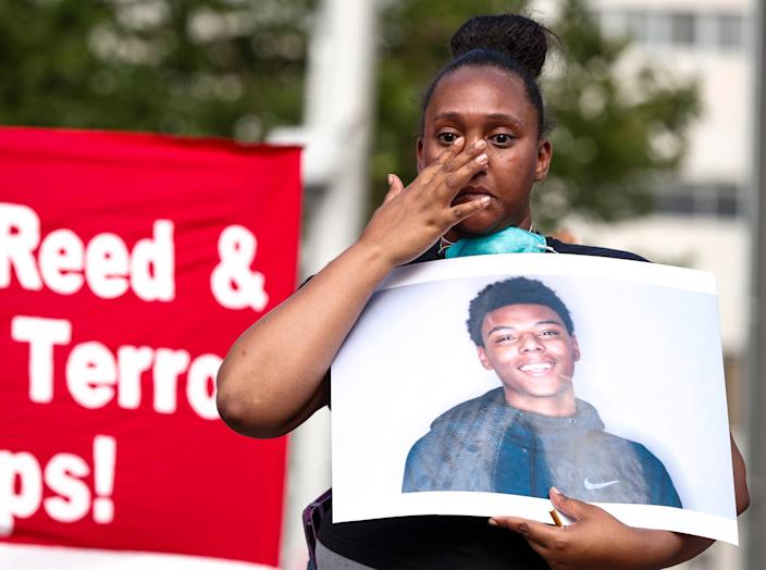 Protesters marched from the City County Building on Market Street to the Indianapolis Metropolitan Police Department the Downtown District on West Jackson Place calling for justice for Dreasjon Reed and McHale Rose in downtown Indianapolis, Wednesday, July 15, 2020.