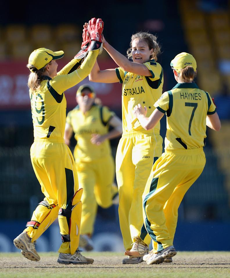 COLOMBO, SRI LANKA - OCTOBER 05:  Ellyse Perry of Australia celebrates with teammates after dismissing Stafanie Taylor of the West Indies during the ICC Women's World Twenty20 2012 Semi Final between Australia and the West Indies at R. Premadasa Stadium on October 5, 2012 in Colombo, Sri Lanka.  (Photo by Gareth Copley/Getty Images)