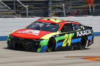 William Byron rounds the track during a NASCAR Cup Series auto race at Dover International Speedway, Sunday, May 16, 2021, in Dover, Del. (AP Photo/Chris Szagola)