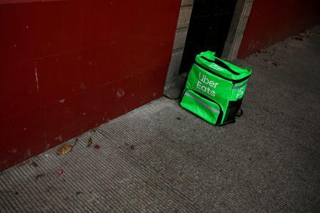 A delivery bag with the logo of Uber Eats is seen on the streets in Mexico City, Mexico May 20, 2019. REUTERS/Carlos Jasso
