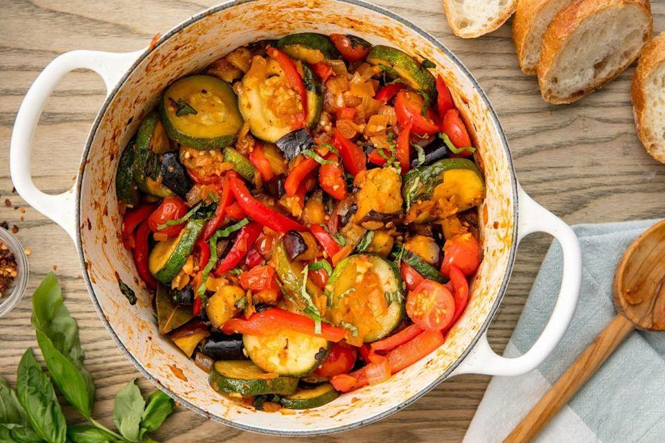 """<p>This classic French countryside dish is chock full of healthy vegetables. </p><p>Get the <a href=""""https://www.delish.com/uk/cooking/recipes/a31072041/easy-traditional-ratatouille-recipe/"""" rel=""""nofollow noopener"""" target=""""_blank"""" data-ylk=""""slk:Ratatouille"""" class=""""link rapid-noclick-resp"""">Ratatouille</a> recipe.</p>"""