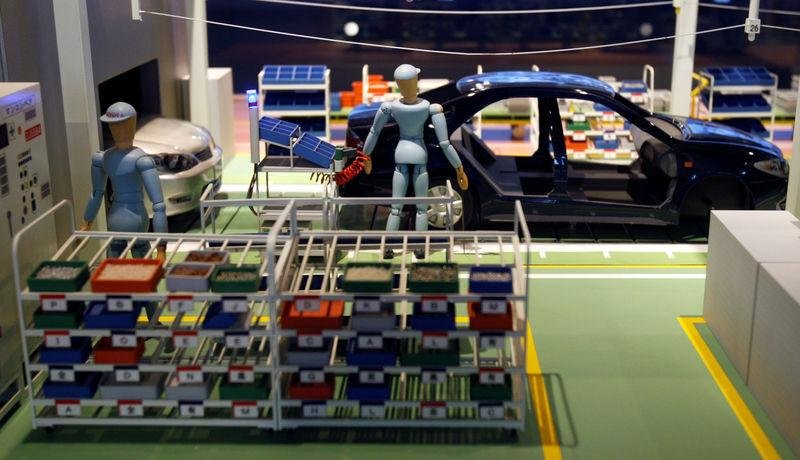 FILE PHOTO - Toyota Motor Corp's miniature production line model is displayed at the company's museum in Toyota