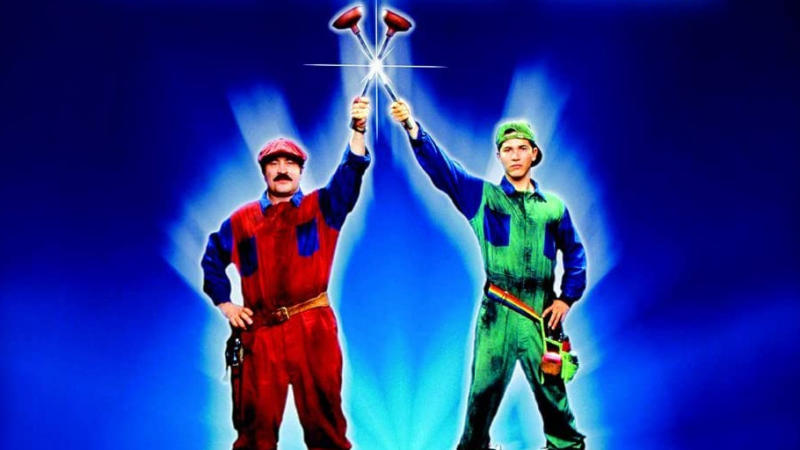 Promotional art showing Bob Hoskins and John Leguizamo in 1993 movie 'Super Mario Bros'. (Credit: Buena Vista Pictures)