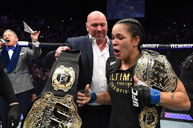 Amanda Nunes celebrates her KO victory over Cris Cyborg in their women's featherweight bout during UFC 232 at The Forum in Inglewood, California. (Getty Images)