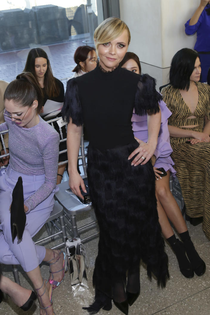 FILE - Actress Christina Ricci attends the Christian Siriano Runway Show during New York Fashion Week on Feb. 9, 2019, in New York. Ricci turns 41 on Feb. 12. (Photo by Brent N. Clarke/Invision/AP, File)