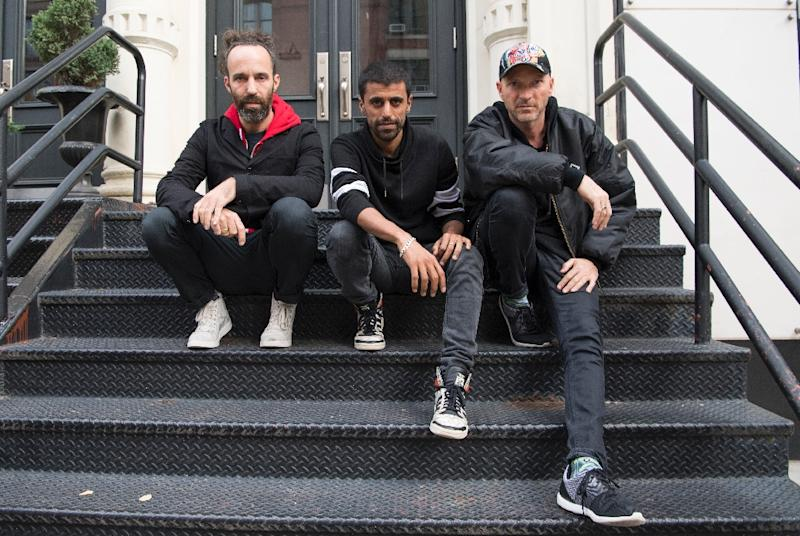 Balkan Beat Box pose for a photo after an interview with AFP in New York on October 26, 2016