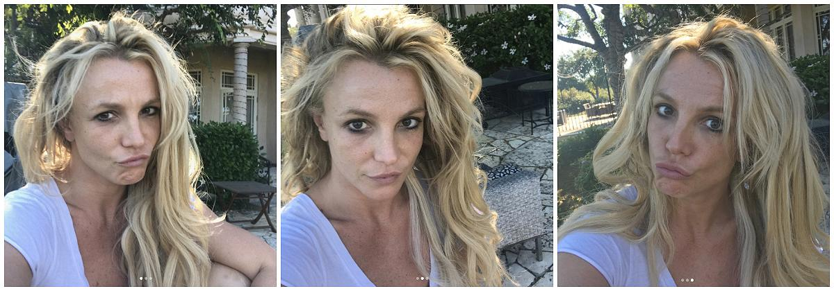 """<p><strong>When: August 28, 2017 </strong><br />We're used to seeing Britney Spears glammed up for her Vegas performances, but the 35-year-old recently shared a few rare <a rel=""""nofollow"""" href=""""https://www.instagram.com/p/BYWg6YplVHz/?hl=en&taken-by=britneyspears"""">makeup-free snaps to Instagram</a>: """"On days where I don't get primped and made up for my show, this is the real unglammed me… so nice to meet all of you!! I call this my morning coffee at home look. #NoMakeupMonday if you don't count the leftover mascara under my right eye…"""" Leftover mascara or not, Spears looks gorgeous! <em>(Photos: Instagram)</em> </p>"""