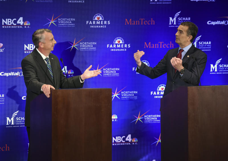 A gubernatorial debate takes place between Republican candidate Ed Gillespie, left, and Democratic Lt. Gov. Ralph Northam on Sept. 19 in McLean, Virginia. (The Washington Post via Getty Images)