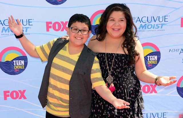"Rico Rodriguez, who plays Manny Delgado, has a sister who he followed into show business. His sister, Raini Rodriguez, played Maya Blart in ""Paul Blart: Mall Cop."" Pictured: Rico Rodriguez and Raini Rodriguez arrive at the 2012 Teen Choice Awards on July 22, 2012 in Universal City, California. (Photo by Jason Merritt/Getty Images)"