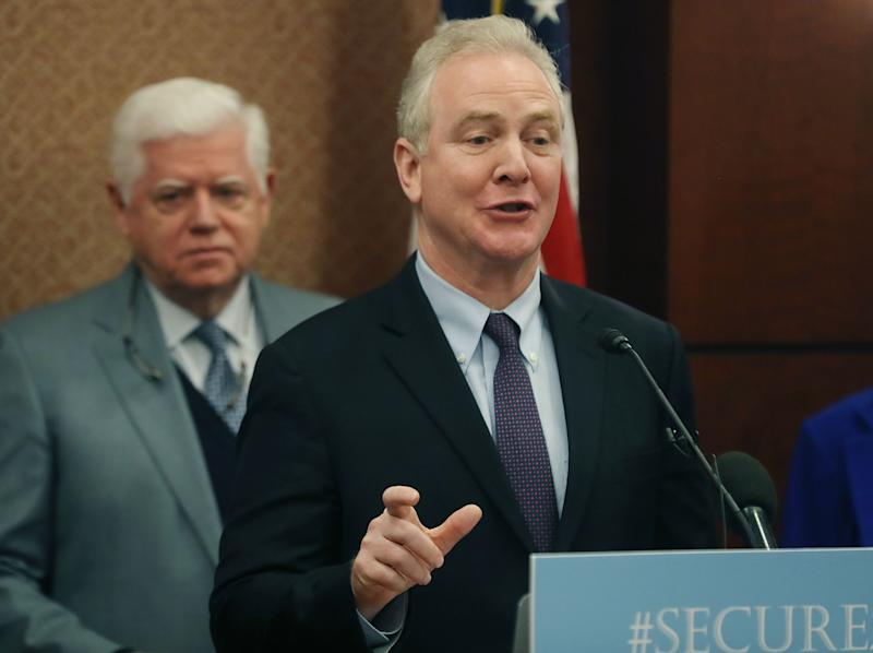 WASHINGTON, DC - JANUARY 30: Sen. Chris Van Hollen (D-MD) speaks while flanked by Rep. John Larson (D-CT) during an event to introduce legislation called the Social Security 2100 Act. which would increase increase benefits and strengthen the fund, during a news conference on Capitol Hill January 30, 2019 in Washington, DC. (Photo by Mark Wilson/Getty Images)